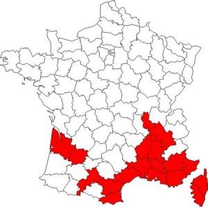 Carte officielle des départements colonisés par le moustique tigre en 2014 (source sante.gouv.fr)